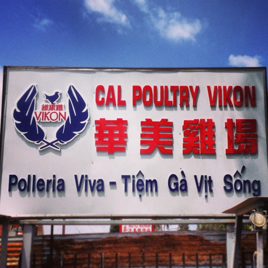 Live poultry for sale in Rosemead, California, a San Gabriel Valley town with significant populations of mainland Chinese, Vietnamese, ethnic Chinese from Vietnam, and Mexicans.