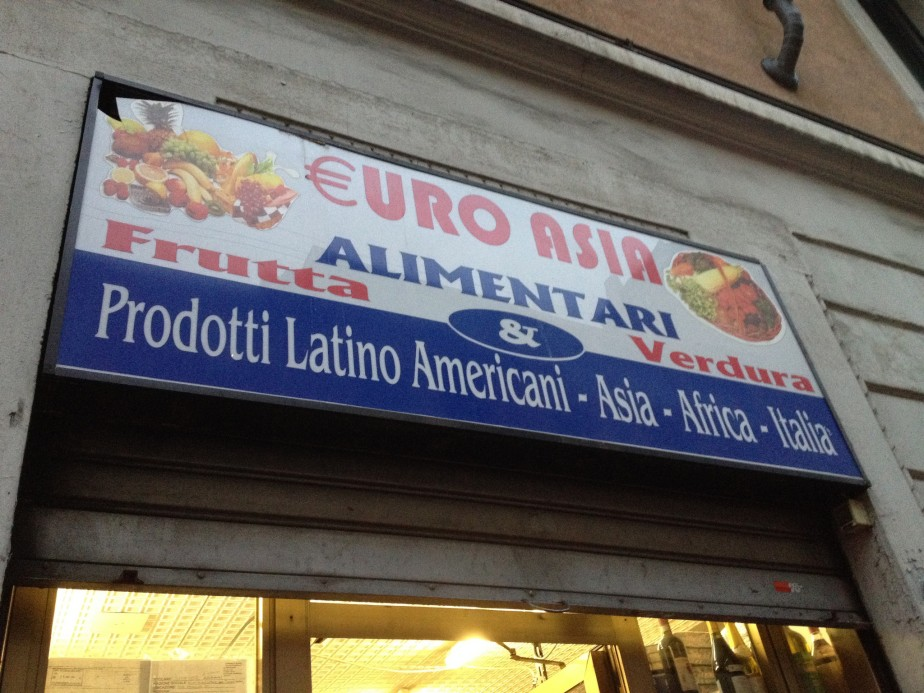 An immigrant grocery store on Via Padova, Milan.